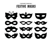 Festive carnival silhouettes mask set isolated