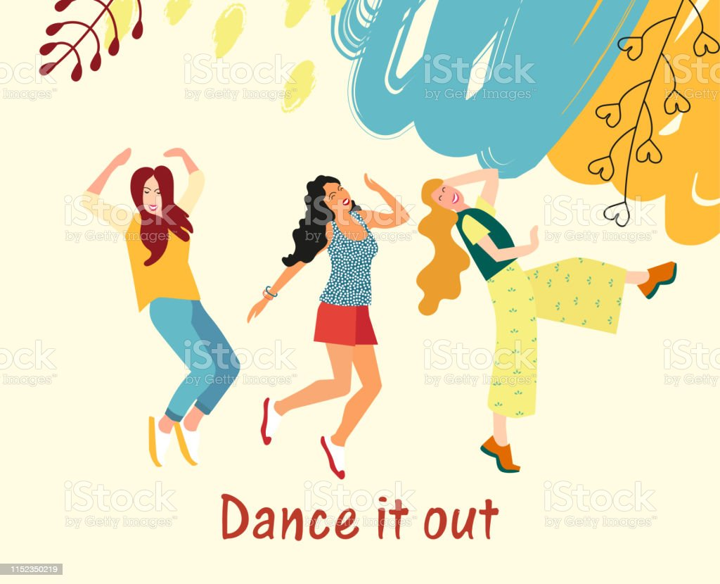 Dancing for girls. Young girls dance and move to the music at a...