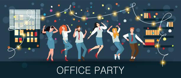 ilustraciones, imágenes clip art, dibujos animados e iconos de stock de carnavales festivos y fiestas de baile. la gente baila - fiesta en la oficina