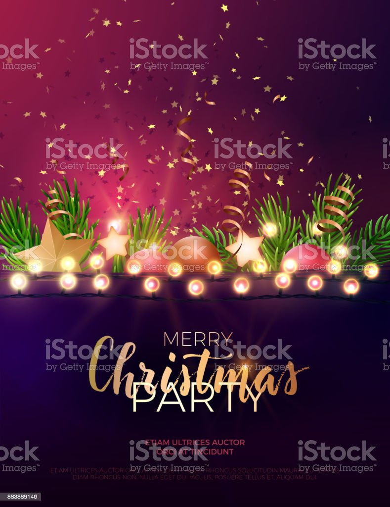 festive christmas and new year vector party flyer or dinner invitation design with fir tree branches