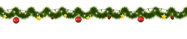 illustrations, cliparts, dessins animés et icônes de guirlande de noël festif. nouvel an torse décoratif, feston horizontalement sans soudure. - guirlande