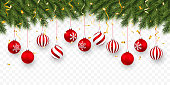 Festive Christmas or New Year Background. Christmas fir-tree branches with confetti and xmas red balls. Holiday's Background. Vector illustration.