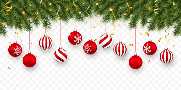 Festive Christmas or New Year Background. Christmas fir-tree branches with confetti and xmas red balls. Holiday's Background. Vector illustration Festive Christmas or New Year Background. Christmas fir-tree branches with confetti and xmas red balls. Holiday's Background. Vector illustration. christmas ornament stock illustrations