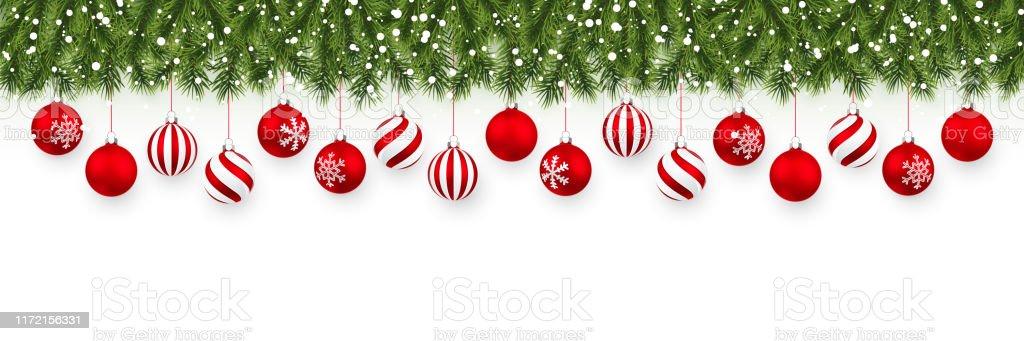 Festlig jul eller nyår Garland. Julgran grenar. Semester bakgrund. Vektor illustration - Royaltyfri Affisch vektorgrafik
