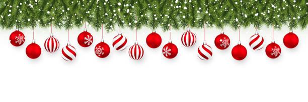 festliche weihnachten oder neujahr girlande. weihnachtsbaum zweige. der hintergrund des urlaubs. vektor-illustration - christmas decoration stock-grafiken, -clipart, -cartoons und -symbole