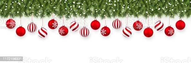 Festlig Jul Eller Nyår Garland Julgran Grenar Semester Bakgrund Vektor Illustration-vektorgrafik och fler bilder på Affisch