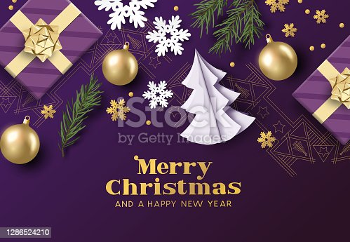 Merry christmas layout composition with purple and gold colours, christmas decorations and fir branches. Vector illustration