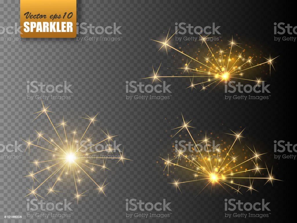 Festive Christmas sparkler set isolated on transparent background. Vector eps10 vector art illustration