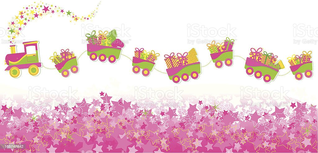 Festive Christmas Train of gifts royalty-free stock vector art