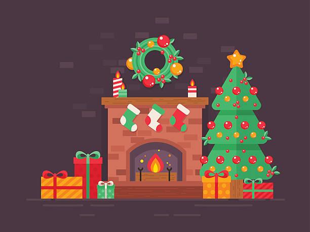 ilustrações de stock, clip art, desenhos animados e ícones de festive christmas tree and decorated fireplace flat card - braseiro