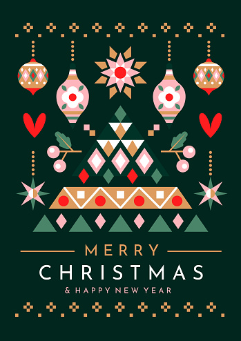 Festive Christmas tree and ornaments greeting card