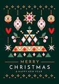 istock Festive Christmas tree and ornaments greeting card 1263465243