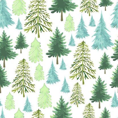 Festive Christmas Trees seamless pattern, different forms of species trees, watercolor green and blue color, as symbol Happy New Year, Merry Christmas holiday celebration. Vector hand drawn holiday texture with spruce, pine trees forest, isolated on white
