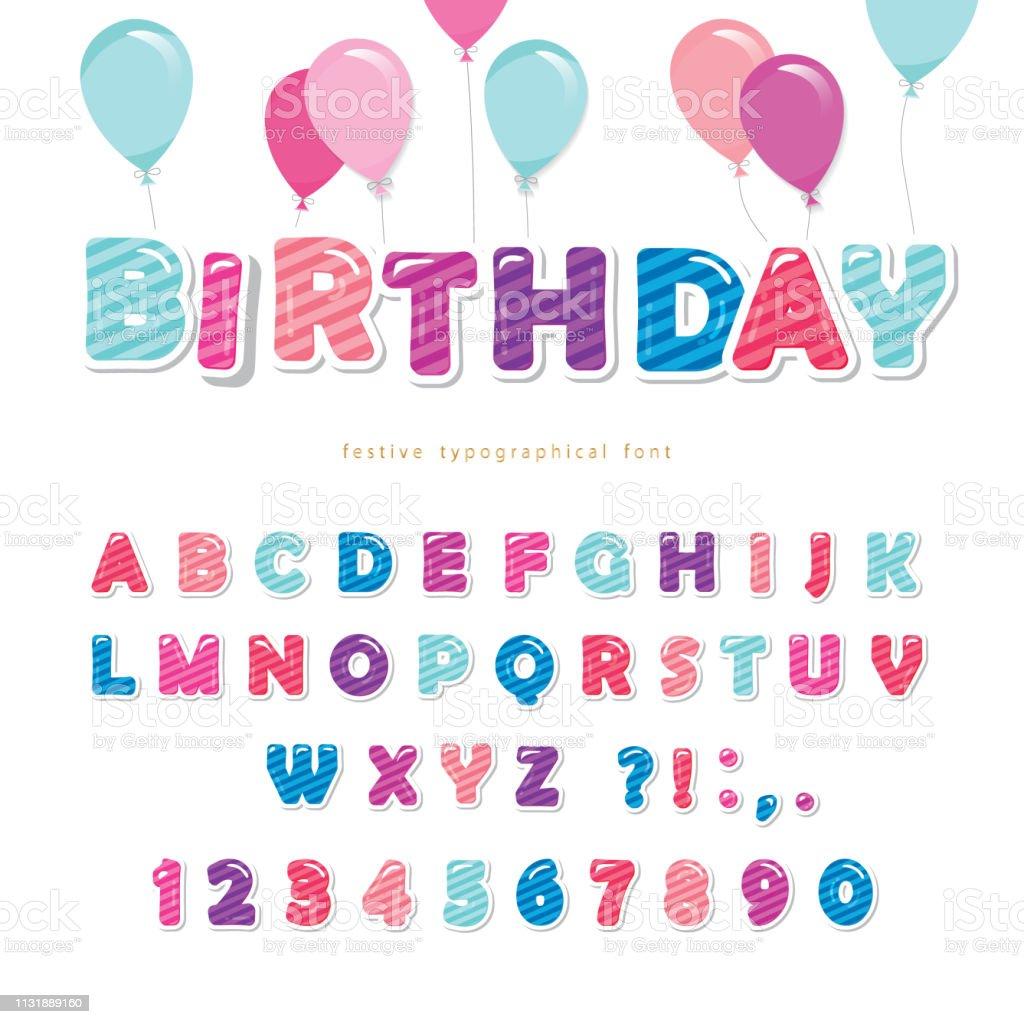 Abc Verjaardag.Feestelijke Kleurrijke Papier Uitsparing Lettertype Bright
