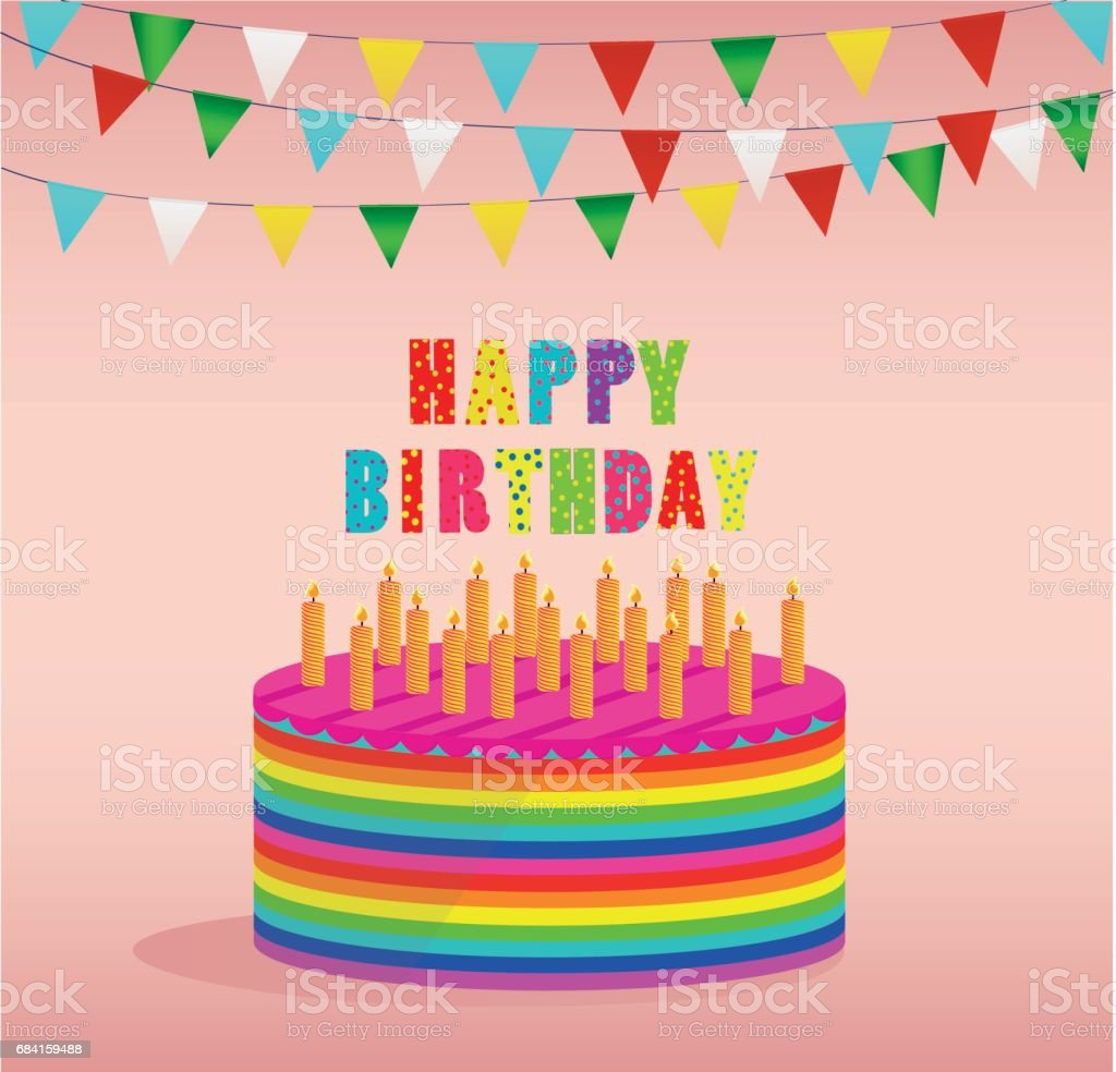 Festive colorful rainbow and a big cake with candles. Happy Birthday. Greeting card or invitation for a holiday. Vector festive colorful rainbow and a big cake with candles happy birthday greeting card or invitation for a holiday vector - immagini vettoriali stock e altre immagini di ambiente royalty-free