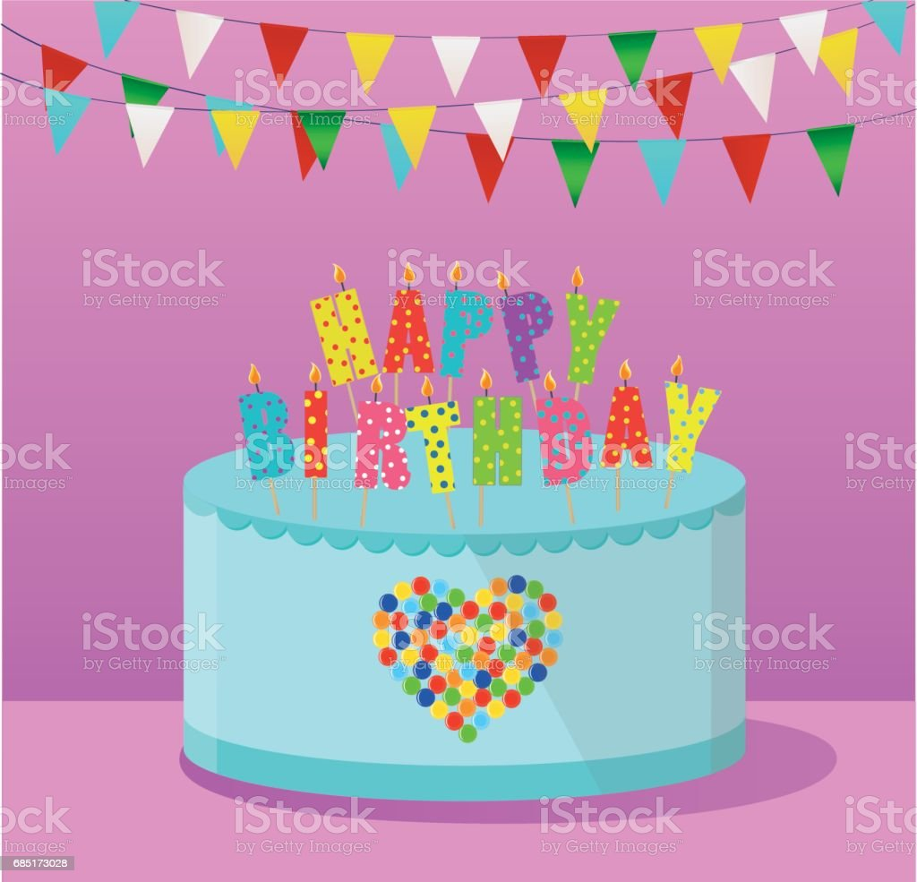 Festive colorful rainbow and a big cake with candles happy birthday festive colorful rainbow and a big cake with candles happy birthday greeting card or stopboris Gallery