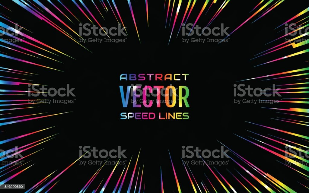 Festive comic radial rainbow speed line, iridescent color on black background, like fireworks. Effect power explosion. Design element. Vector illustration vector art illustration