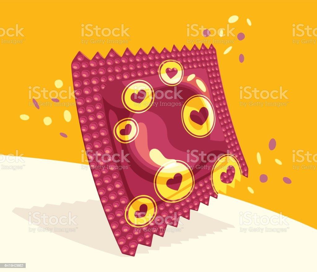 Festive condom package vector art illustration