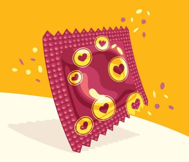 illustrations, cliparts, dessins animés et icônes de paquet de préservatif festif - planning familial