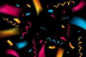 Festive confetti. Black background Vector illustration