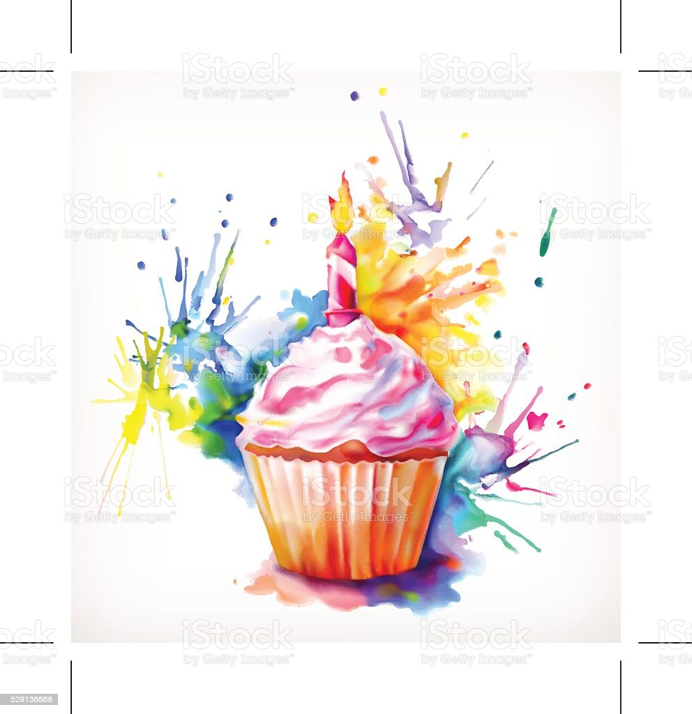 Festliche cupcake mit Kerze – Vektorgrafik
