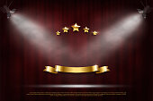 Festive dark red curtain realistic luxury background. Retro cinema, classic theater drop and blank glowing golden ribbon 3D vector horizontal backdrop. Five shiny stars and sparkling falling confetti