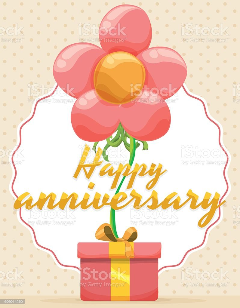 Festive Design For Anniversary Event With Floating Flower And Gift