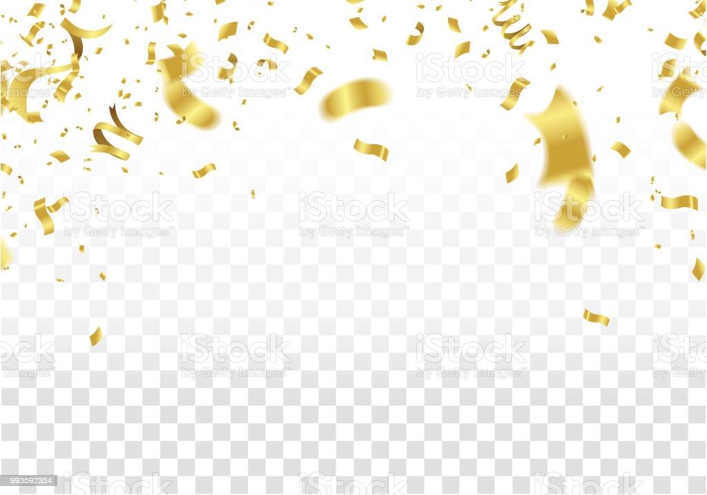 Festliche Gestaltung. Gold Grenze Von Bunten Hellen Konfetti Auf  Transparenten Hintergrund Isoliert. Party Dekoration