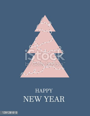 Festive template of delicate flowers. Christmas elegant tree is decorated with a garland. Happy New Year congratulatory signature.