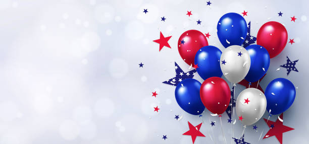Festive design with helium balloons in national colors of the american flag and with pattern of stars on white background. Festive design with helium balloons in national colors of the american flag and with pattern of stars on white background. USA greeting banner for sale, discount, advertisement, web. Place for text labor day stock illustrations