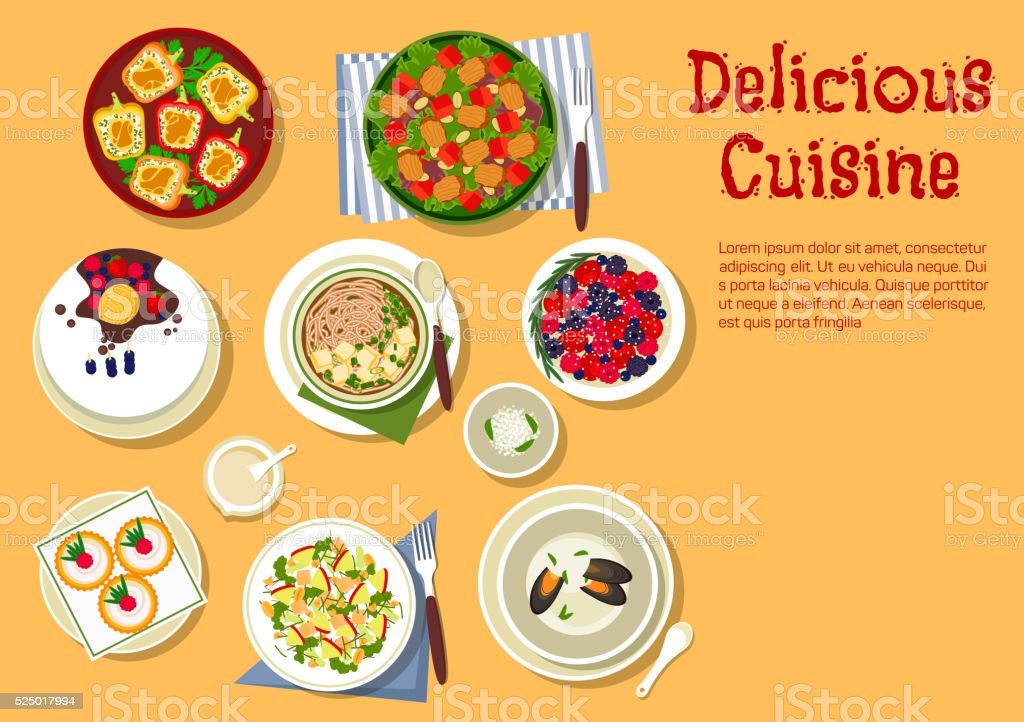 Festive dinner with delicious cake flat icon vector art illustration