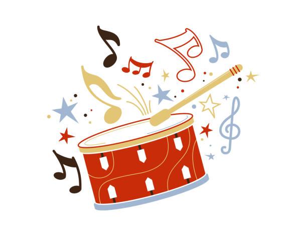 stockillustraties, clipart, cartoons en iconen met feestelijke drum en stick platte vector illustratie - drum
