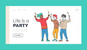 Festive Event Landing Page Template. Characters Enjoying Holidays Celebration Holding Sparklers in Hands. Happy Friends Celebrate Christmas or New Year Holidays, Linear People Vector Illustration