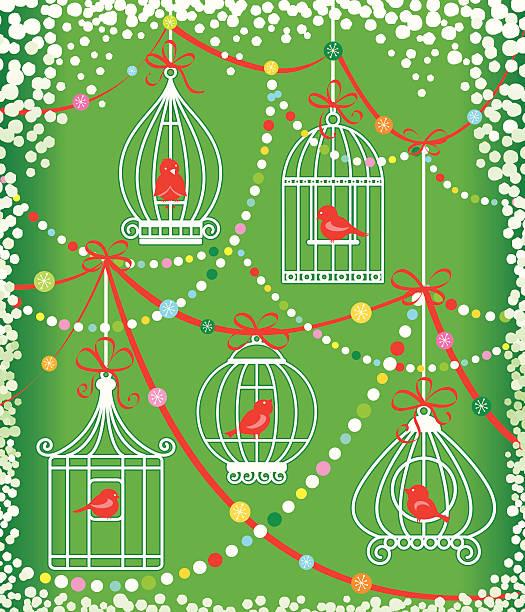 illustrations, cliparts, dessins animés et icônes de festive nos amis les oiseaux - cage animal nuit