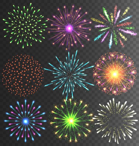 świąteczne sztucznych ogni salute pęknięcie na przejrzystych - new year stock illustrations