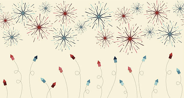 Festive fireworks and rockets border vector art illustration