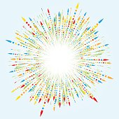 Festive fireworks from multicolored arrows. Effect power explosion illustration. Holiday design element. Vector