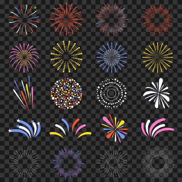 Festive fireworks isolated on transparent background. Brightly, colorful and monochrome celebration firecrackers Festive fireworks isolated on transparent background. Brightly, colorful and monochrome celebration firecrackers. Vector pyrotechnic effects stock illustrations