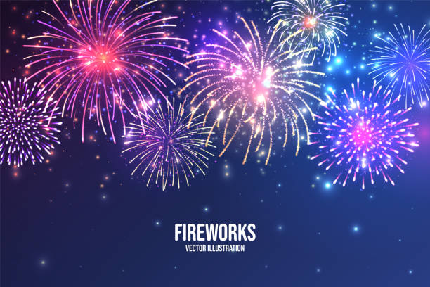 Festive fireworks. Realistic colorful firework on blue abstract background. Multicolored explosion. Christmas or New Year greeting card. Diwali festival of lights. Vector illustration Festive fireworks. Realistic colorful firework on blue abstract background. Multicolored explosion. Christmas or New Year greeting card. Diwali festival of lights. Vector illustration firework display stock illustrations