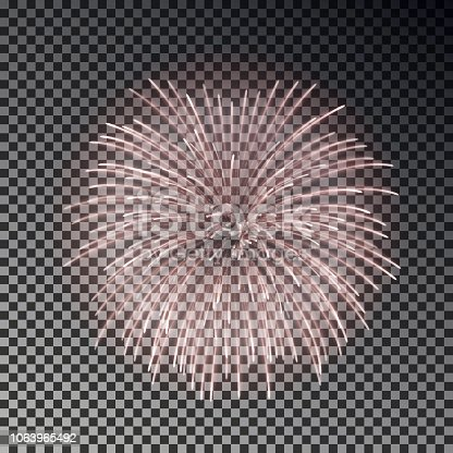 Festive fireworks set. Christmas firecracker light effect isolated on dark background. Firework decoration for New Year, Party, Birthday. Diwali fire cracker salute. Vector illustration.