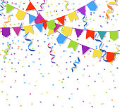 Festive flags garlands and exploding paper bunting confetti vector illustration
