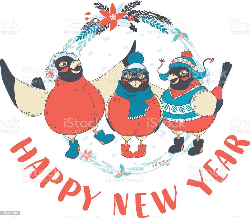 Festive Funny Happy New Year card with three birds bullfinches vector art illustration