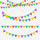 Festive garlands. Birthday party invitation banners.  Vector illustration