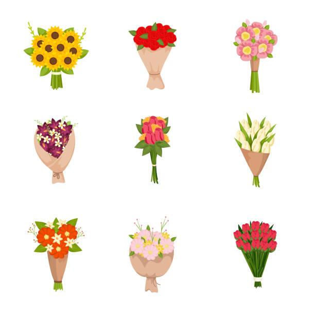 stockillustraties, clipart, cartoons en iconen met feestelijke giftboeketten van bloemenpictogrammen die op lege achtergrond worden geplaatst - vierkant compositie