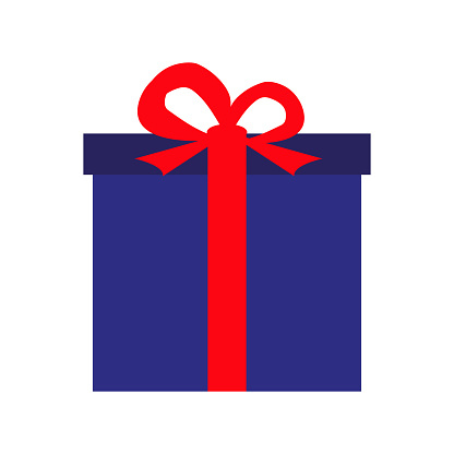 festive gift in a blue box illustration