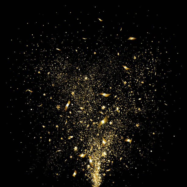Festive Gold Confetti festive gold confetti on a black background anniversary silhouettes stock illustrations