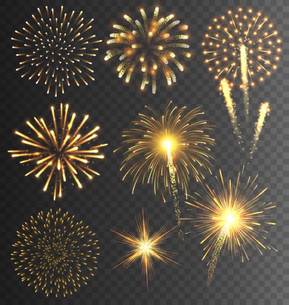 świąteczne golden sztucznych ogni salute pęknięcie na przejrzystych - new year stock illustrations