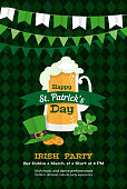 Festive Happy Saint Patrick's Day Greeting card leprechaun hat, mug of beer, tartan background pattern, gold, clover leaves. Paper cut style design vector illustration posters, flyers, invitations
