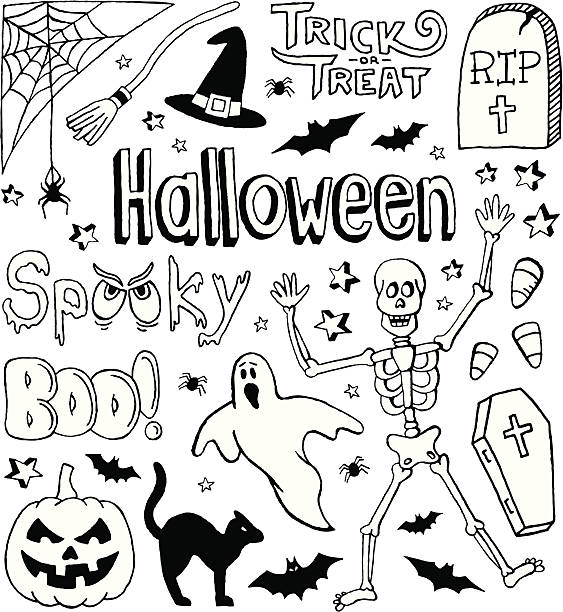 Festive holiday themed small sketches for All Hallows' eve A Halloween-themed doodle page. cat skeleton stock illustrations