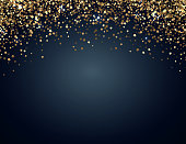 Festive horizontal Christmas and New Year background with gold glitter of stars. Vector illustration.
